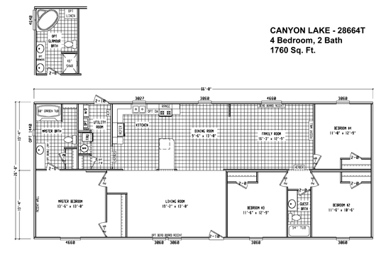 floor plan cl 28664t canyon lake multi section cavco